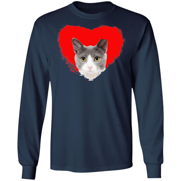 Navy Cat Long Sleeve T-Shirt I Love Cats
