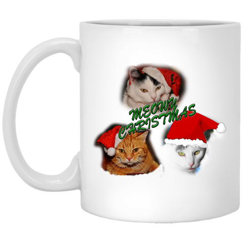 11 oz White Cat Christmas Ceramic Mug - Meowy Christmas - Christmas Cat Coffee Mug