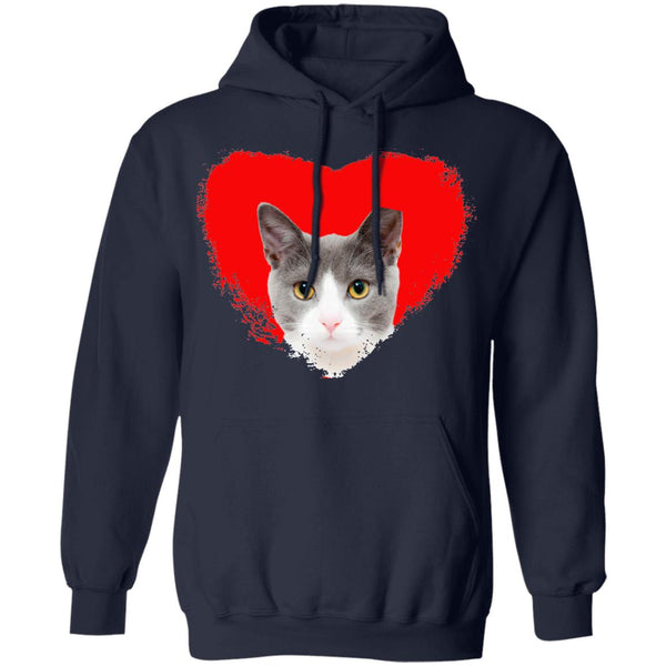 Navy Cat Pullover Hoodie I Love Cats