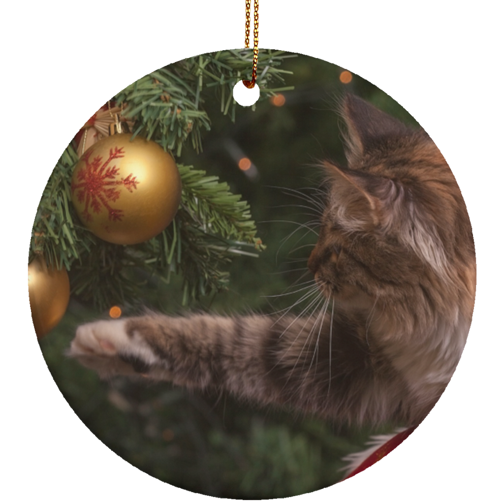 Round White Ceramic Cat Christmas Ornament - Cat Christmas Tree Ornament - Cat Ceramic Ornament