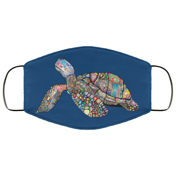 Colorful Sea Turtle Print Face Mask royal blue