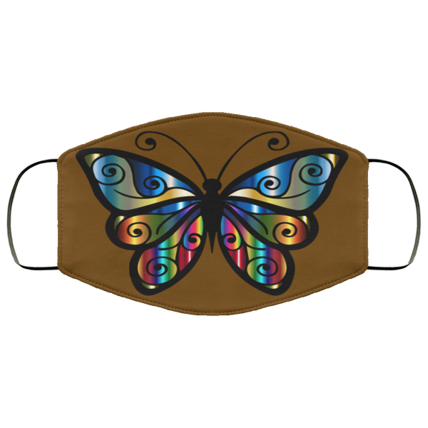 abstract butterfly print face mask brown