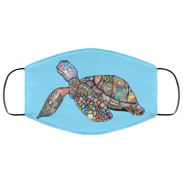 Colorful Sea Turtle Print Face Mask columbia blue