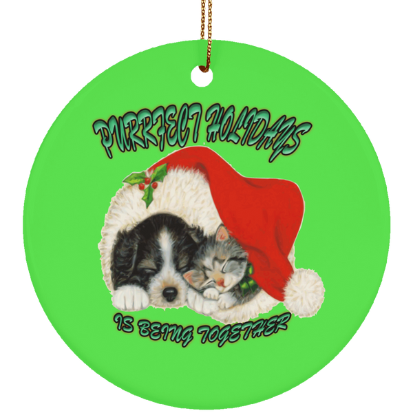 Round Green Cat Christmas Ornaments - Dog And Cat In Santa Hat - Cat Christmas Tree Ornament