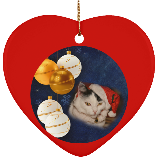Heart red Cat Christmas Ornament
