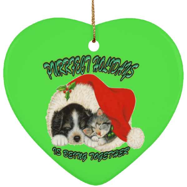 Heart Green Cat Christmas Ornaments - Dog And Cat In Santa Hat - Cat Christmas Tree Ornament