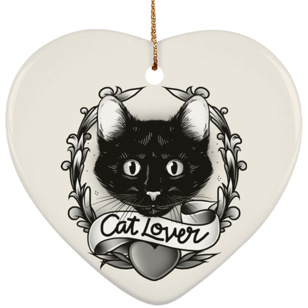 Heart White Ceramic Ornament For Cat Lovers