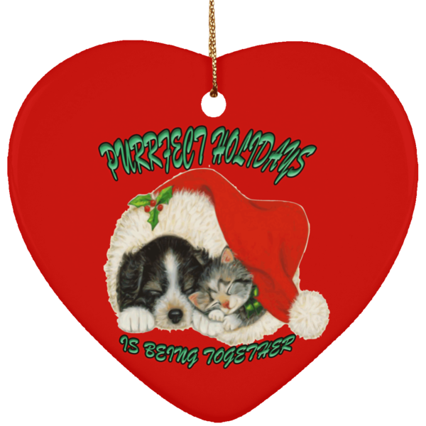 Heart Red Cat Christmas Ornaments - Dog And Cat In Santa Hat - Cat Christmas Tree Ornament