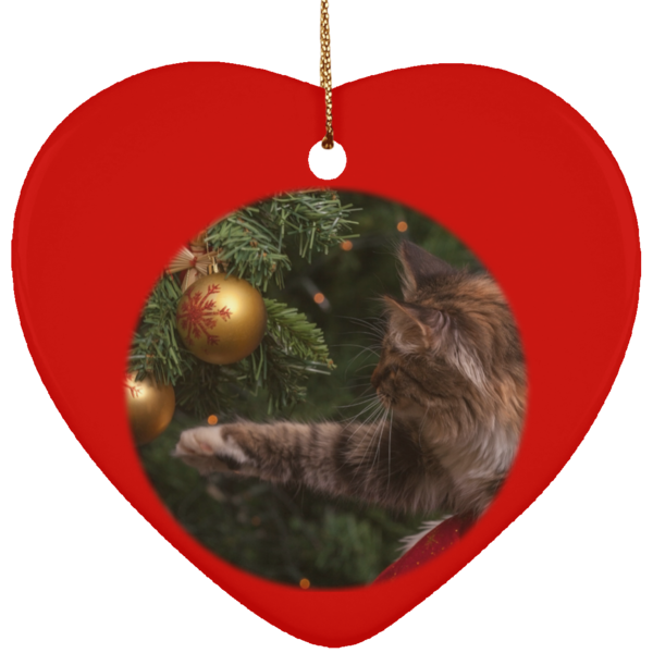 Heart Red Ceramic Cat Christmas Ornament - Cat Christmas Tree Ornament - Cat Ceramic Ornament