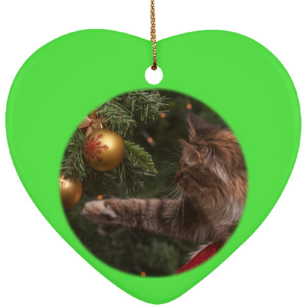 Heart Green Ceramic Cat Christmas Ornament - Cat Christmas Tree Ornament - Cat Ceramic Ornament