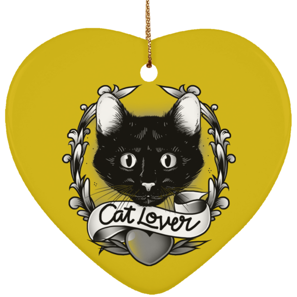 Heart Gold Ceramic Ornament For Cat Lovers