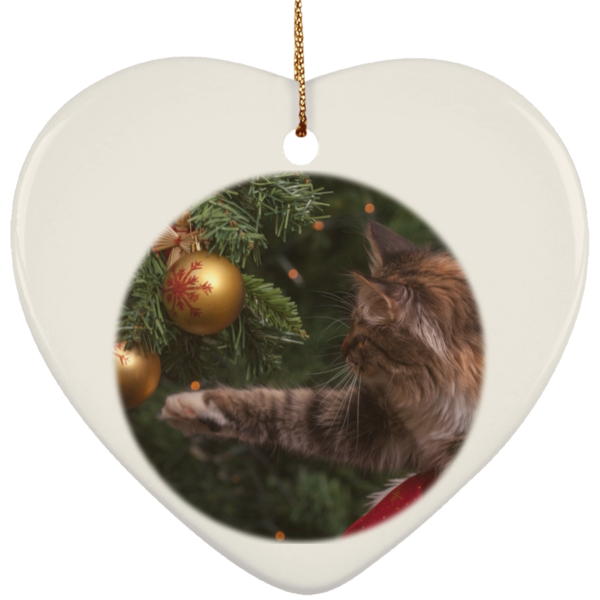 Heart White Ceramic Cat Christmas Ornament - Cat Christmas Tree Ornament - Cat Ceramic Ornament