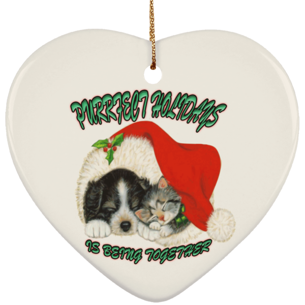 Heart White Cat Christmas Ornaments - Dog And Cat In Santa Hat - Cat Christmas Tree Ornament