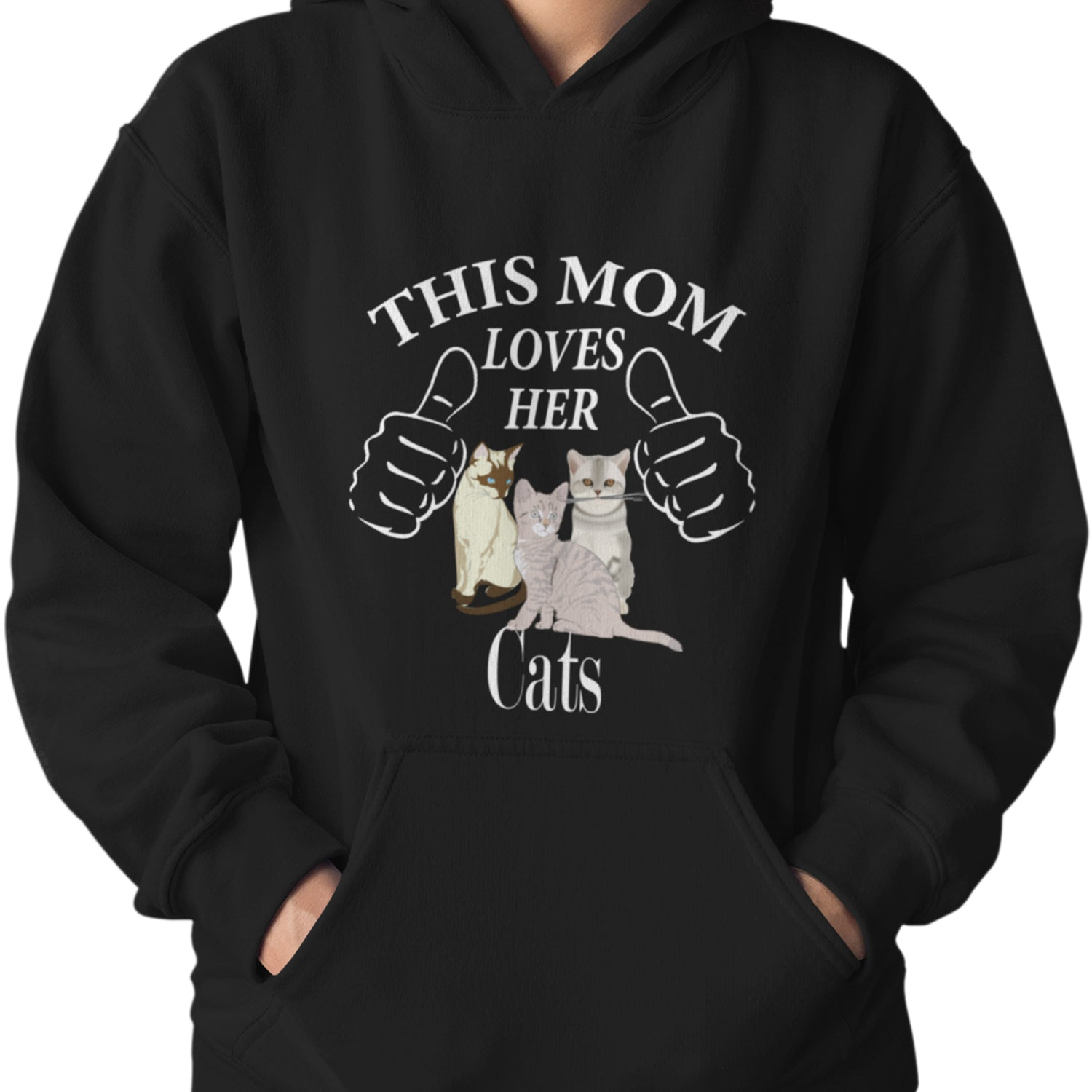 Cat Lover Hoodie This Mom Loves Her Cats Cotton Polyester Unisex Hoodie Pullover With Pouch Pocket