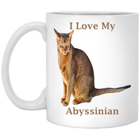 11 oz White Abyssinian Cat Coffee Mug