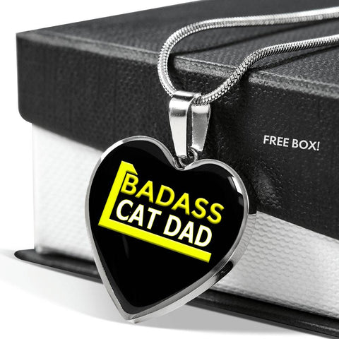 Badass Cat Dad Custom Heart Pendant Necklace