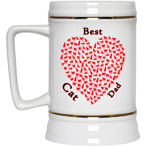 best cat dad white beer mug 22 oz
