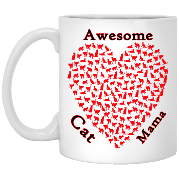 11 oz white Awesome Cat Mom Coffee Mug, Ceramic Cat Lovers Cup