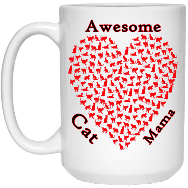 15 oz white Awesome Cat Mom Coffee Mug, Ceramic Cat Lovers Cup