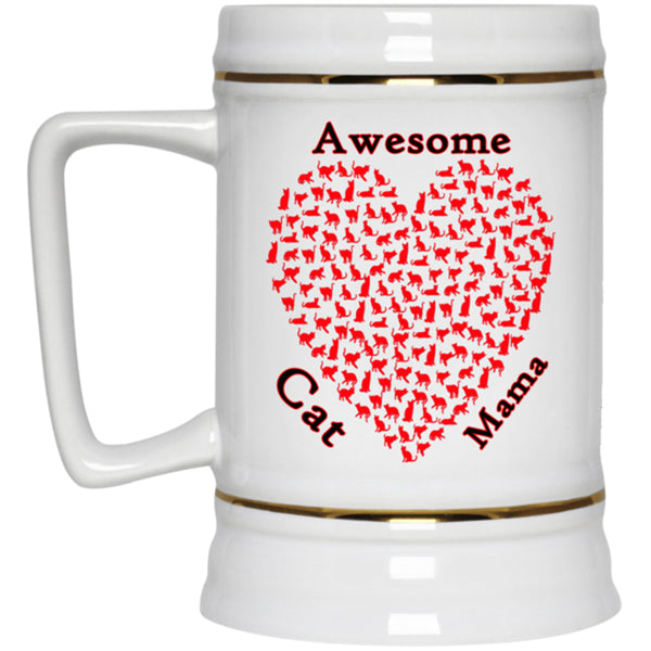 22 oz white Awesome Cat Mom Beer Mug Gift For Cat Lovers