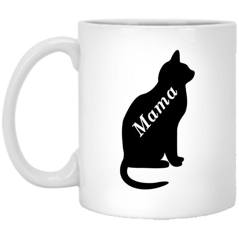 11 oz White Cat Mama Coffee Mug