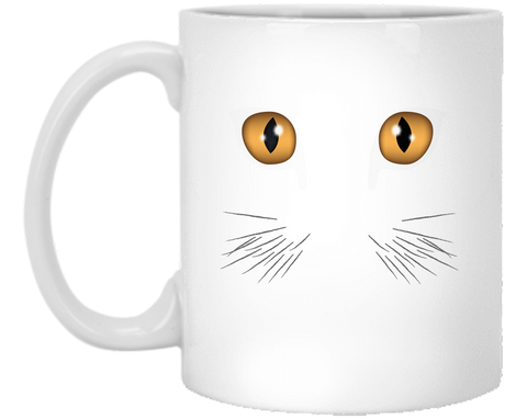 11 oz white Halloween Mug Cats Eyes Ceramic Coffee Cup