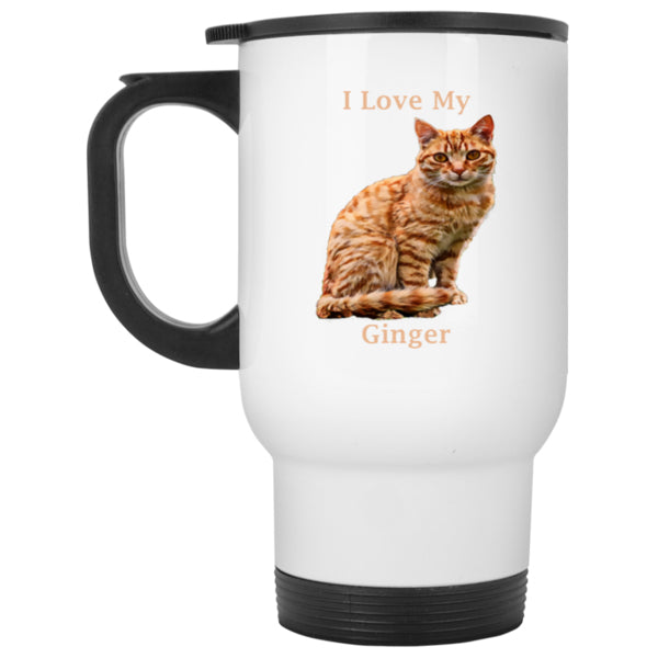 14 oz White Ginger Travel Mug - I Love My Ginger