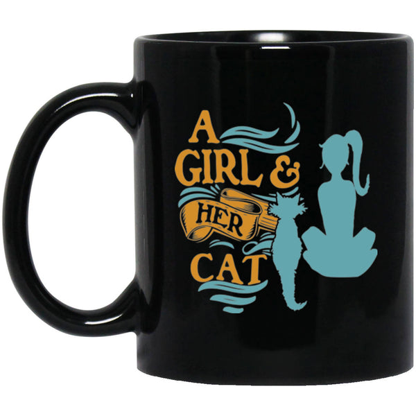 11 oz Black Cat Coffee Mug A Girl and Her Cat