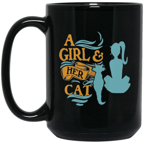 15 oz Black Cat Coffee Mug A Girl and Her Cat