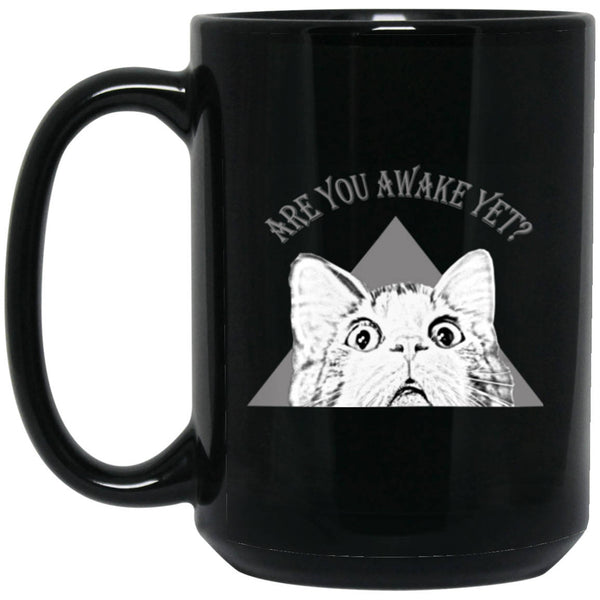 "15 oz black Ceramic Cat Coffee Mug ""Are You Awake Yet"""