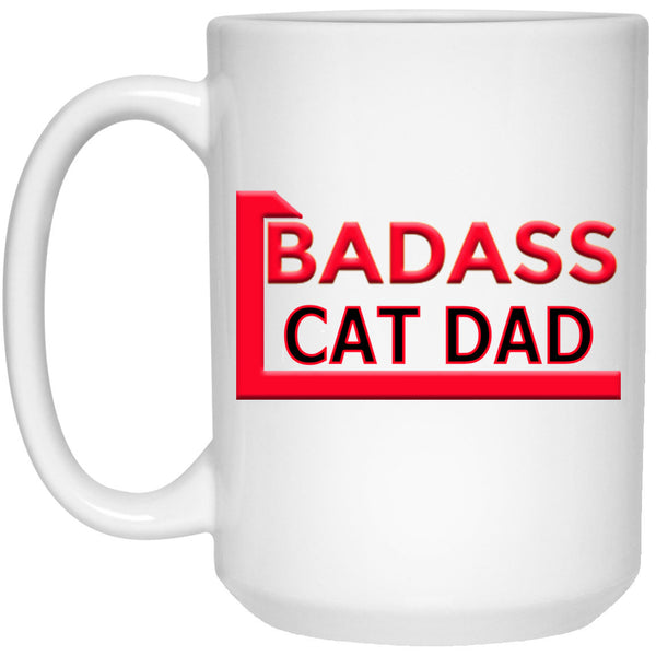 15 oz White Cat Coffee Mug Badass Cat Dad