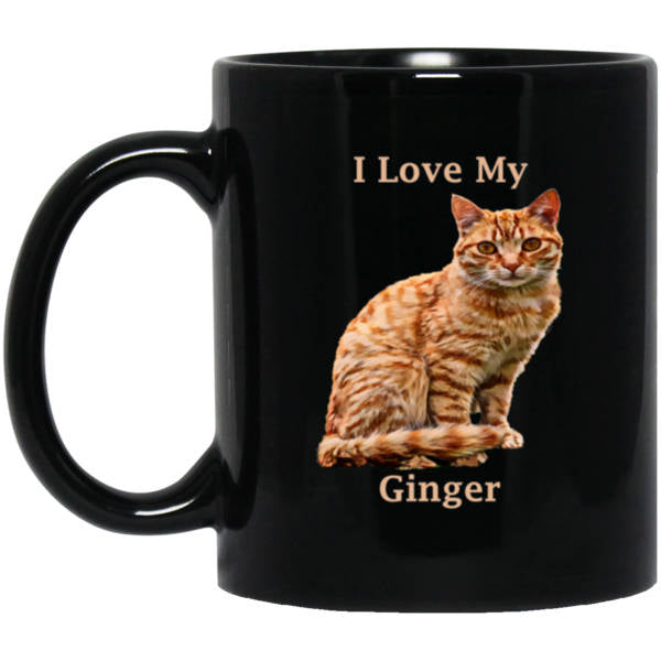 11 oz Black Ginger Cat Mug - I Love My Ginger