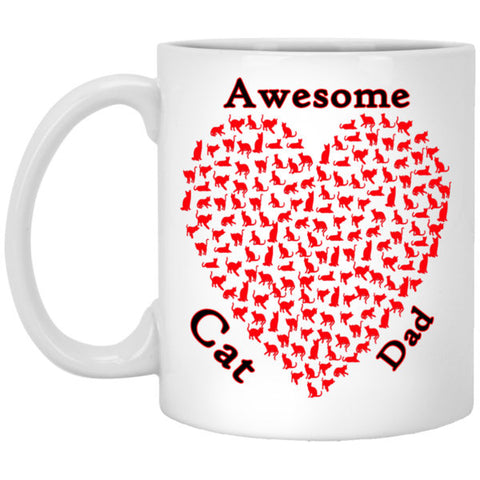 11 oz white Awesome Cat Dad Mug Gift For Cat Lovers
