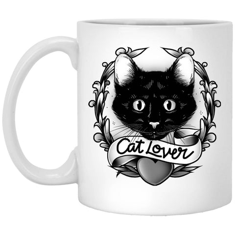 11 oz white Ceramic Coffee Cup - Cat Lovers