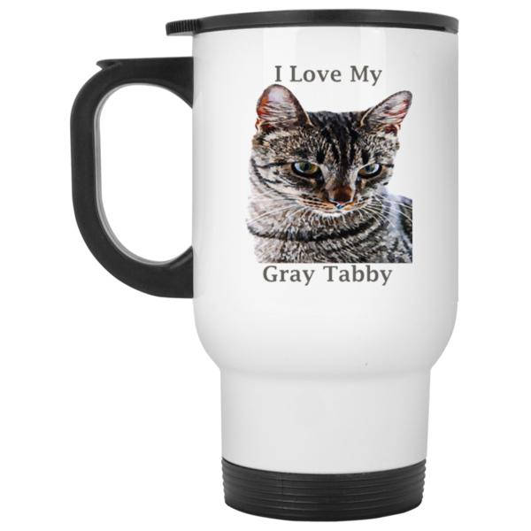 14 oz white Cat Travel Mug Gray Tabby Cat Lovers Gift I Love My Gray Tabby