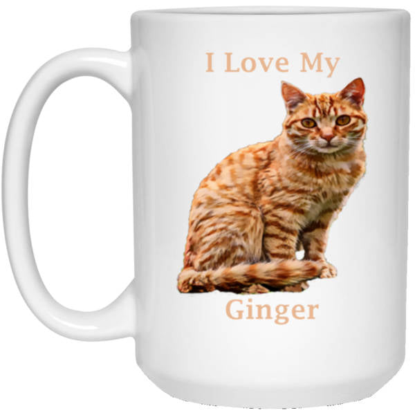 15 oz White Ginger Cat Mug - I Love My Ginger