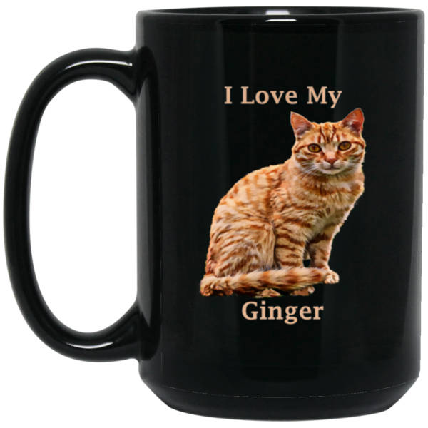 15 oz Black Ginger Cat Mug - I Love My Ginger