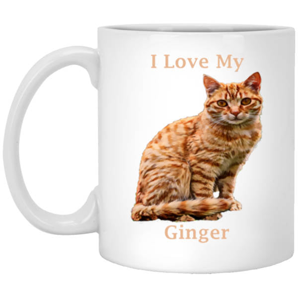 11 oz White Ginger Cat Mug - I Love My Ginger