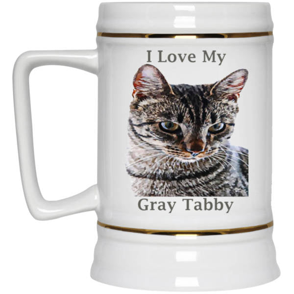 22 oz white Cat Beer Mug Gray Tabby Cat Lovers Gift I Love My Gray Tabby