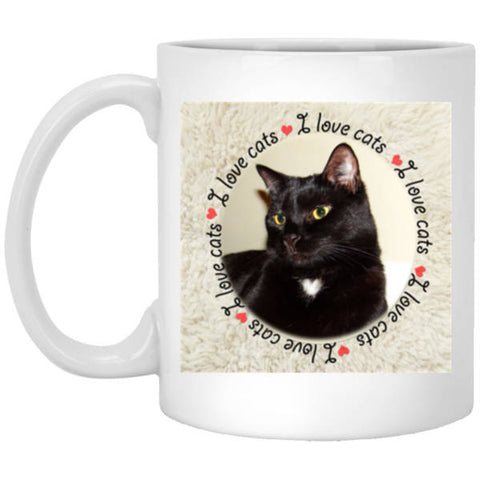11 oz White I Love Cats Mug - Custom Cat Gift For Cat Owners And Lovers