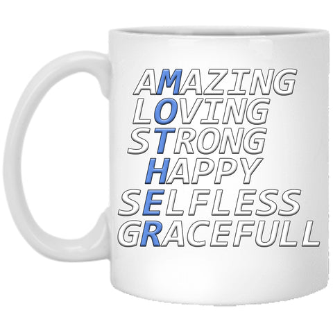 Mother's Day Gift - Amazing Loving Strong Happy Selfless Graceful (Mother) - 11oz Novelty Coffee Mug For Birthday, Christmas, Anniversary, Valentine's Day, Xmas, Gifts For Her