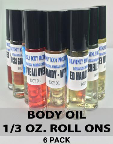Body Oils - MEN and WOMEN 6 Pack - 1/3 Roll-on  (A-Z)