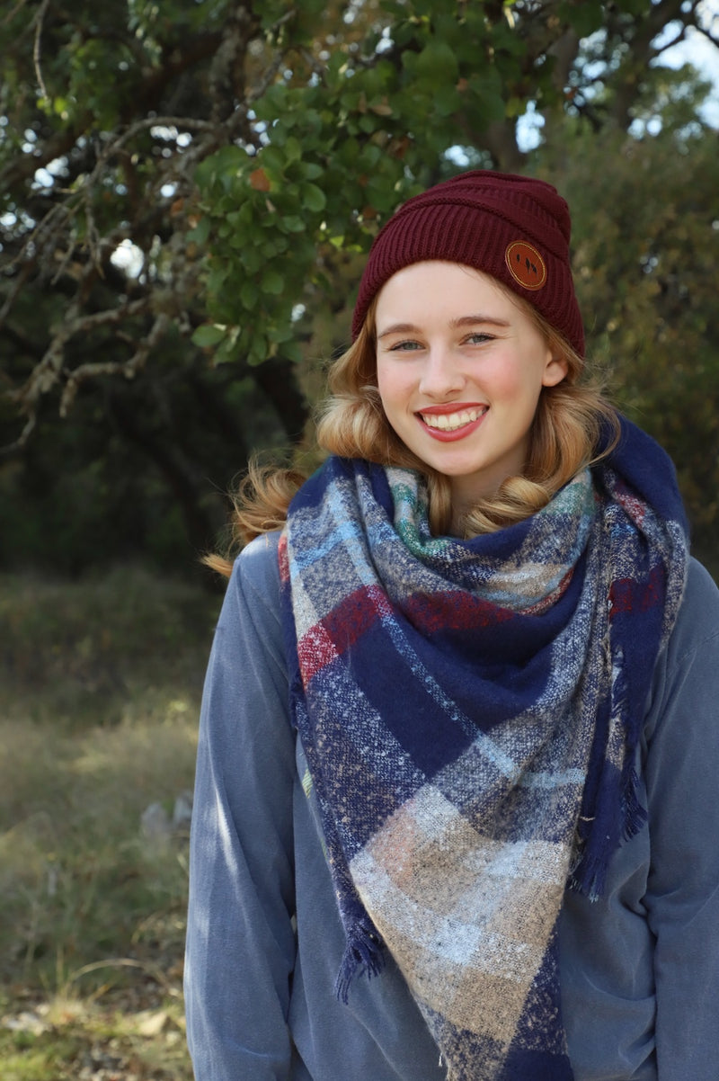Baby is cold outside!!!  Wrap up and stay cozy in our gorgeous Navy and Burgundy Blanket Scarf.  Perfect as a small throw or as a scarf.