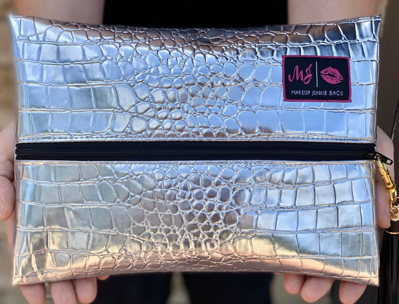 Silver Gator Makeup Junkie Bag