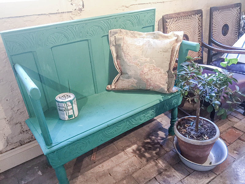 Annie Sloan shop green painted bench