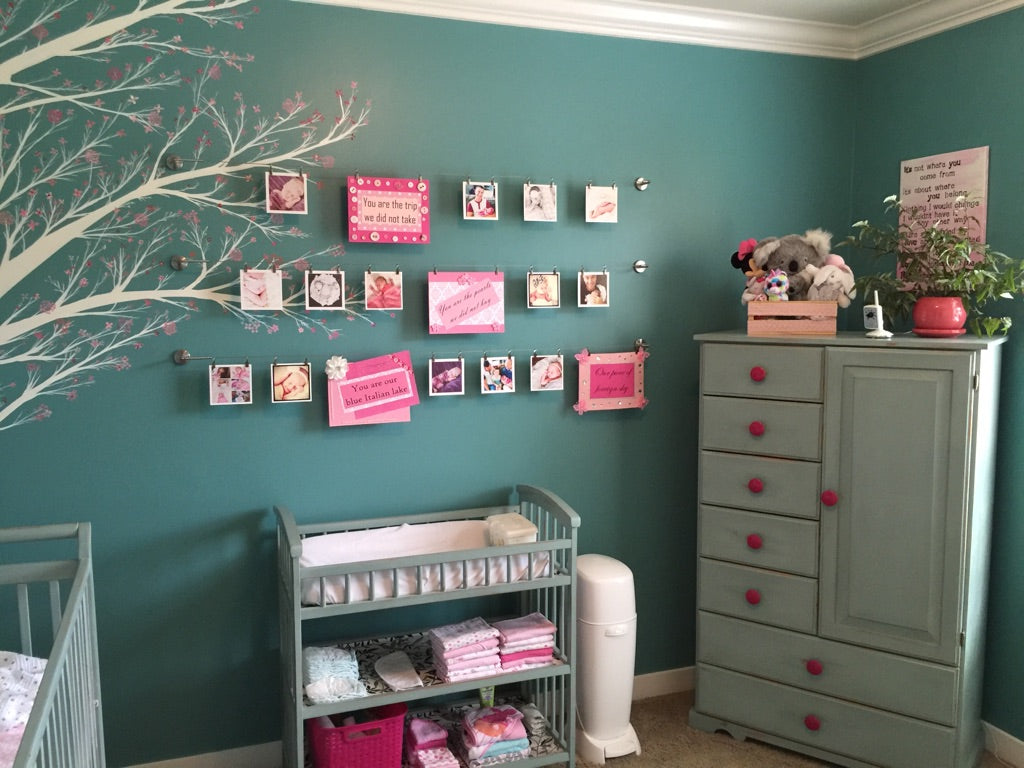 Quinn's Room featuring changing table and dresser painted with Annie Sloan Chalk Paint™ in Duck Egg- The Passionate Home