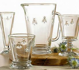 French glassware, bees