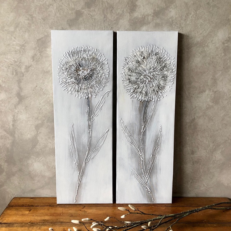 Textured Flower Canvas with Silver Highlights