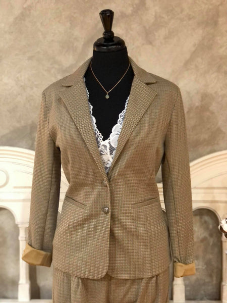 Anett CREAM Blazer in Taupe Gray Check