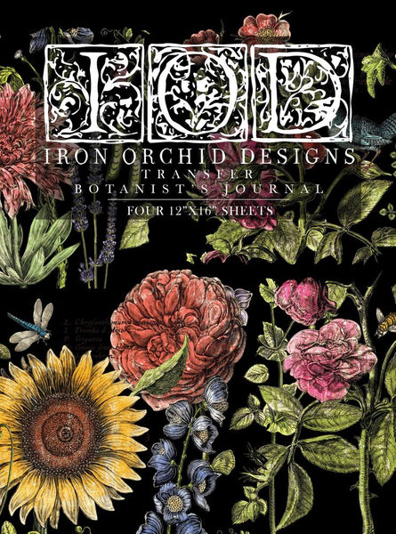"Botanist's Journal Transfer Set (pad of 4 12""x16"" sheets) by IOD - Iron Orchid Designs"
